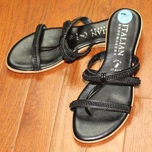 Italian Shoe Makers Black Beaded Sandals
